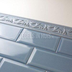 Sierstrip - border voor metro tegels Craquele Marine blauw 8x20 Nostalgisch