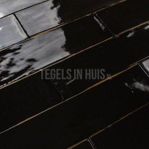 EQ Langwerpige witjes 7,5x30 cm handvorm wandtegel glans zwart