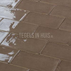EQ Langwerpige witjes 7,5x15 cm handvorm wandtegel glans cacao bruin