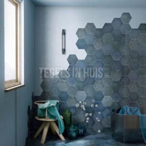 Vloertegel Hexagon Random Indigo blauw 17,5x20cm