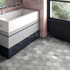 Vloertegel Hexagon Random Shadow grijs 17,5x20cm