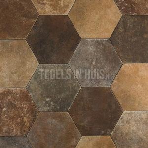 Vloertegel Hexagon pompei Marron 20x24 mix