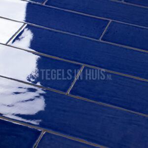 EQ Langwerpige witjes 7,5x30 cm handvorm wandtegel Pavone blauw glans